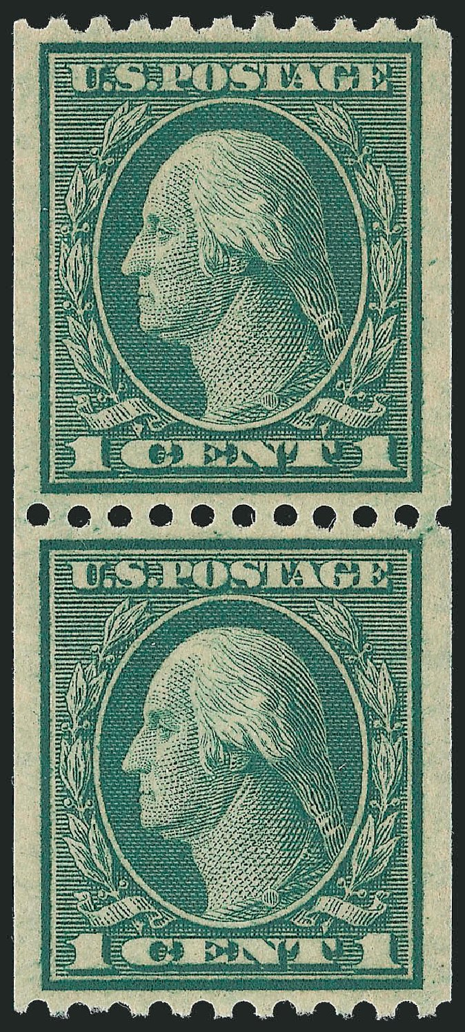 US Stamp Prices Scott #448 - 1915 1c Washington Coil Perf 10 Horizontally. Robert Siegel Auction Galleries, Sep 2009, Sale 976, Lot 2030