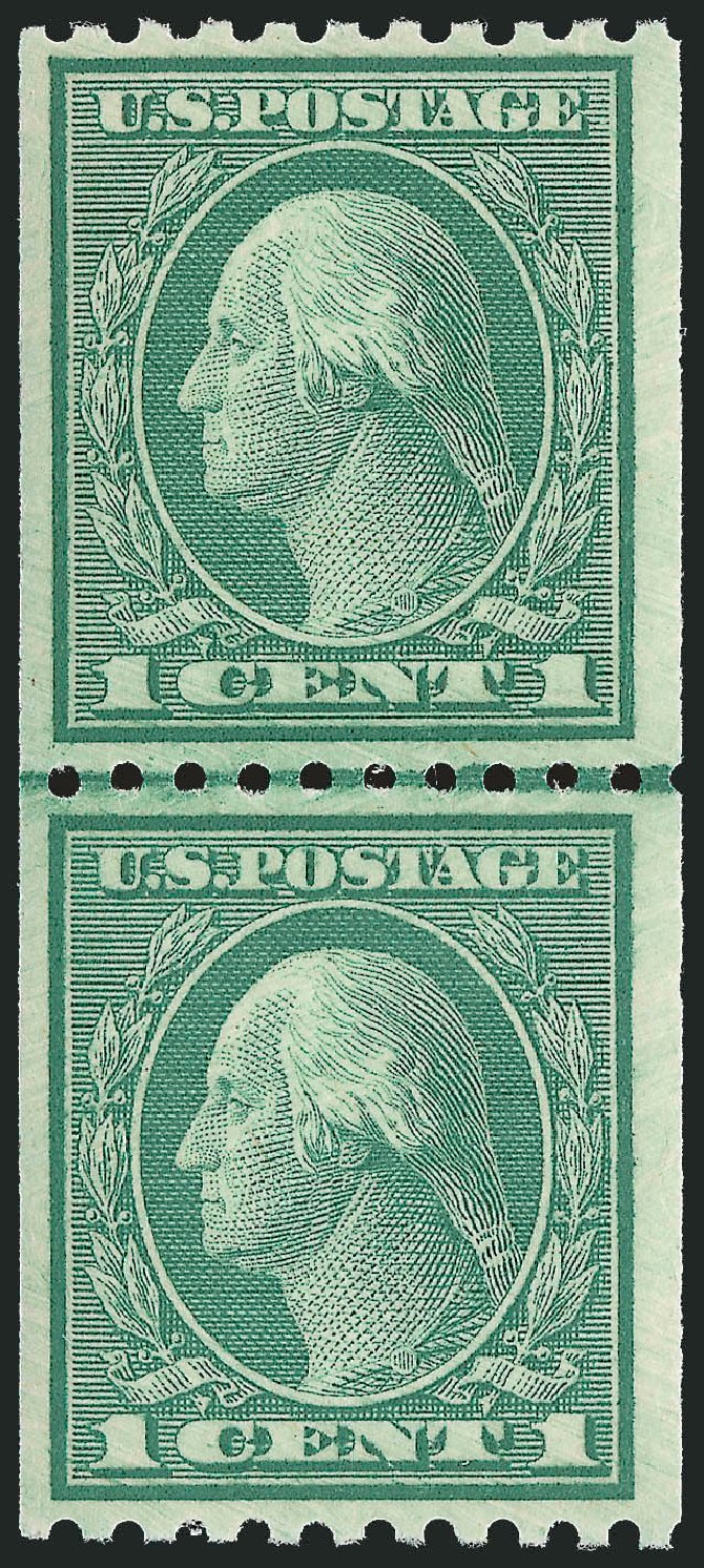 US Stamps Values Scott Catalog #448: 1c 1915 Washington Coil Perf 10 Horizontally. Robert Siegel Auction Galleries, Feb 2015, Sale 1093, Lot 341