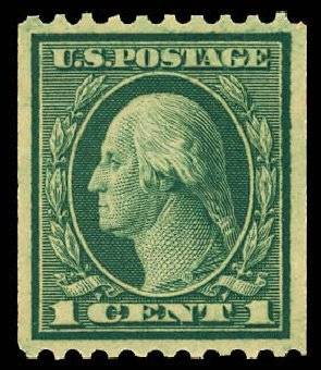 US Stamp Value Scott Catalogue #448: 1915 1c Washington Coil Perf 10 Horizontally. Daniel Kelleher Auctions, Dec 2012, Sale 633, Lot 795