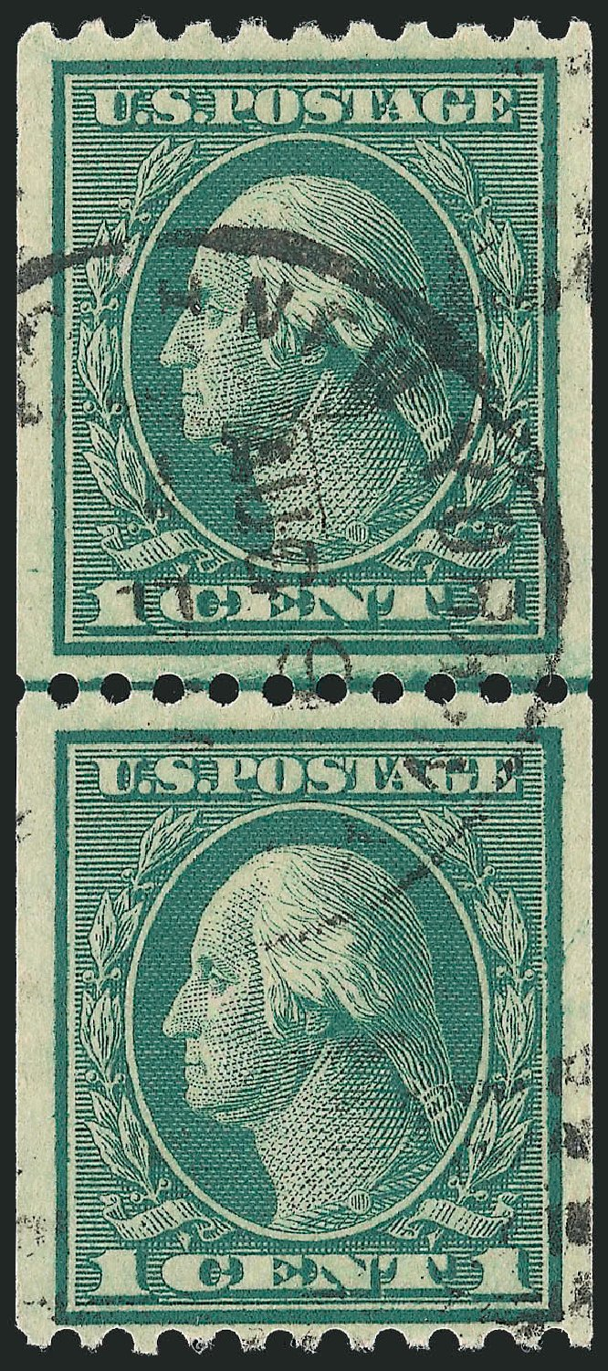 US Stamps Values Scott Cat. # 448 - 1c 1915 Washington Coil Perf 10 Horizontally. Robert Siegel Auction Galleries, Sep 2012, Sale 1028, Lot 395