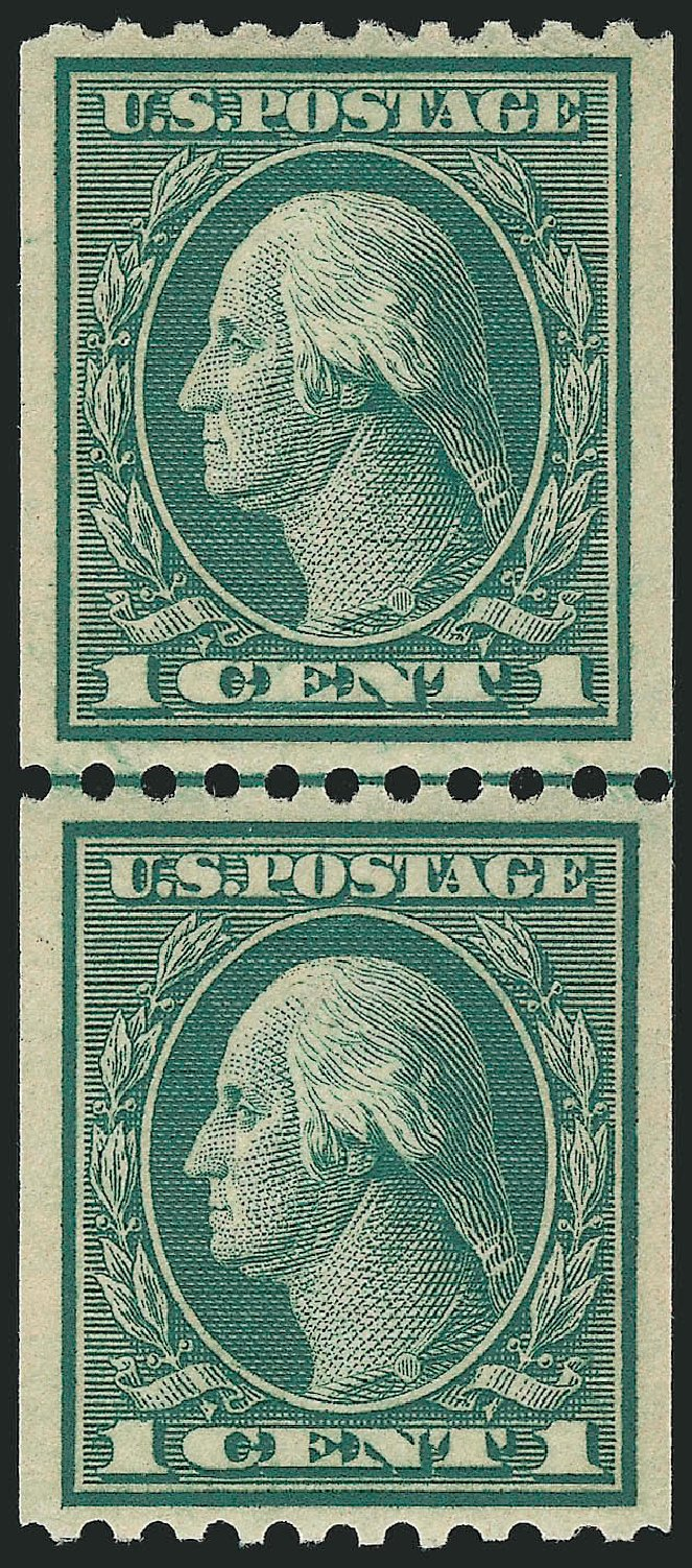 US Stamp Price Scott Catalogue 448 - 1915 1c Washington Coil Perf 10 Horizontally. Robert Siegel Auction Galleries, Mar 2014, Sale 1067, Lot 1535