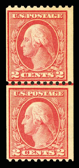Cost of US Stamps Scott Cat. # 449 - 1915 2c Washington Coil Perf 10 Horizontally. Cherrystone Auctions, Jul 2015, Sale 201507, Lot 2155