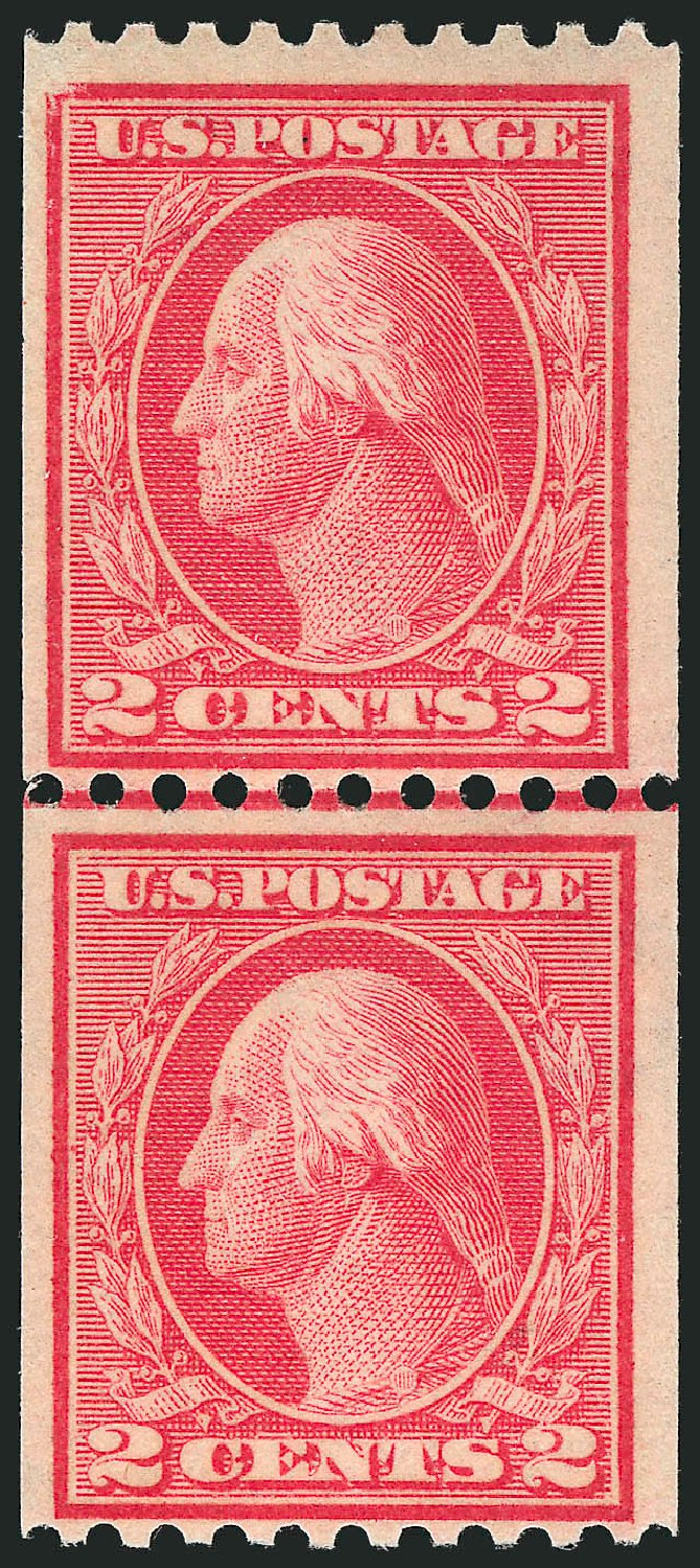 Values of US Stamps Scott Catalog 449 - 2c 1915 Washington Coil Perf 10 Horizontally. Robert Siegel Auction Galleries, Feb 2015, Sale 1093, Lot 345