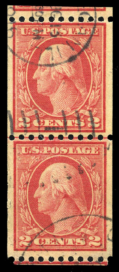 US Stamps Prices Scott #449: 2c 1915 Washington Coil Perf 10 Horizontally. Matthew Bennett International, Feb 2015, Sale 351, Lot 193