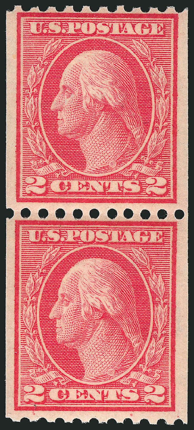 US Stamp Values Scott Catalog #449 - 1915 2c Washington Coil Perf 10 Horizontally. Robert Siegel Auction Galleries, Apr 2015, Sale 1096, Lot 696
