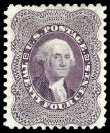 US Stamp Values Scott Catalog 45: 24c 1875 Washington Reprint. Schuyler J. Rumsey Philatelic Auctions, Apr 2015, Sale 60, Lot 2009