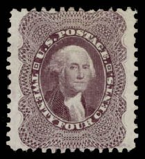 Prices of US Stamps Scott Catalog 45 - 1875 24c Washington Reprint. Daniel Kelleher Auctions, Aug 2015, Sale 672, Lot 2240
