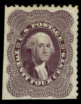 Cost of US Stamps Scott Catalogue # 45: 1875 24c Washington Reprint. Daniel Kelleher Auctions, Jan 2015, Sale 663, Lot 1283
