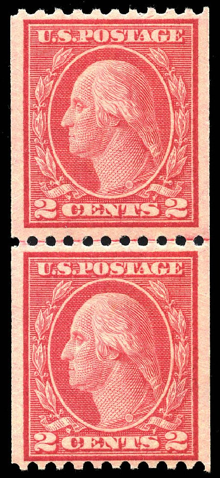 Cost of US Stamps Scott Cat. #450: 1915 2c Washington Coil Perf 10 Horizontally. Matthew Bennett International, May 2014, Sale 350, Lot 599