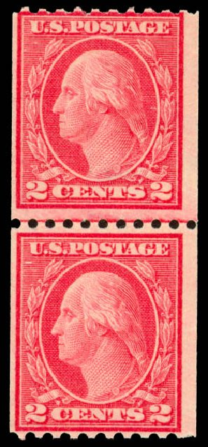 US Stamps Prices Scott 450: 2c 1915 Washington Coil Perf 10 Horizontally. Daniel Kelleher Auctions, Dec 2013, Sale 640, Lot 389