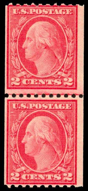 US Stamps Prices Scott 450: 2c 1915 Washington Coil Perf 10 Horizontally. Daniel Kelleher Auctions, Dec 2013, Sale 640, Lot 389