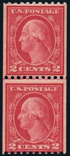 Value of US Stamps Scott Cat. # 450: 2c 1915 Washington Coil Perf 10 Horizontally. Harmer-Schau Auction Galleries, Nov 2014, Sale 103, Lot 135