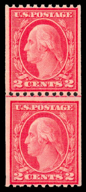 US Stamp Values Scott Catalog # 450 - 1915 2c Washington Coil Perf 10 Horizontally. Daniel Kelleher Auctions, Sep 2013, Sale 639, Lot 442