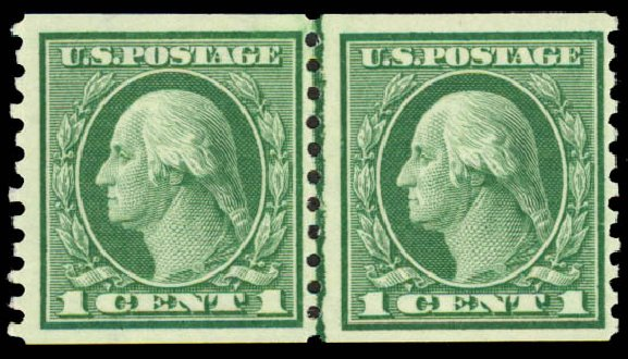 Cost of US Stamp Scott Catalogue 452 - 1c 1914 Washington Coil Perf 10 Vertically. Daniel Kelleher Auctions, May 2015, Sale 669, Lot 3027