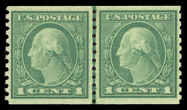 US Stamps Values Scott #452 - 1914 1c Washington Coil Perf 10 Vertically. Matthew Bennett International, Sep 2010, Sale 333, Lot 3758