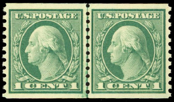 Price of US Stamp Scott Catalog #452: 1914 1c Washington Coil Perf 10 Vertically. Daniel Kelleher Auctions, Sep 2014, Sale 655, Lot 508