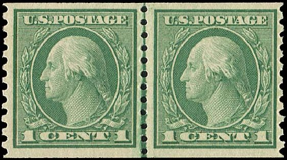 Price of US Stamp Scott Cat. # 452 - 1914 1c Washington Coil Perf 10 Vertically. Regency-Superior, Aug 2015, Sale 112, Lot 838
