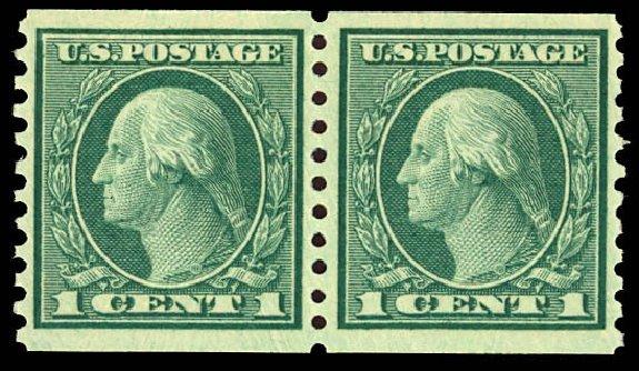 Price of US Stamps Scott Catalogue # 452 - 1914 1c Washington Coil Perf 10 Vertically. Daniel Kelleher Auctions, Dec 2012, Sale 633, Lot 799