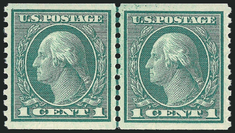 US Stamps Values Scott 452 - 1c 1914 Washington Coil Perf 10 Vertically. Robert Siegel Auction Galleries, Oct 2011, Sale 1013, Lot 429