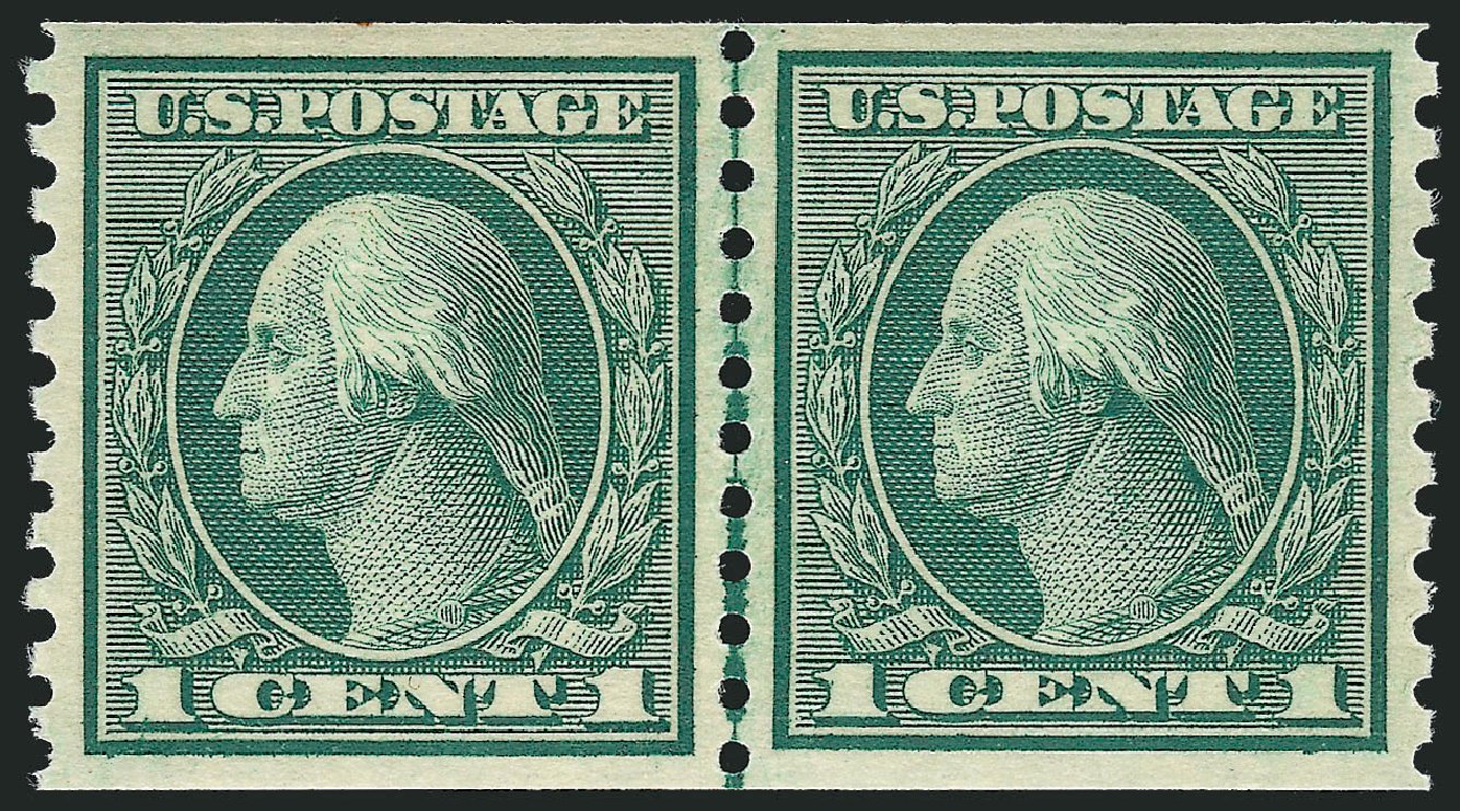 Price of US Stamp Scott 452 - 1914 1c Washington Coil Perf 10 Vertically. Robert Siegel Auction Galleries, Jul 2013, Sale 1050, Lot 569