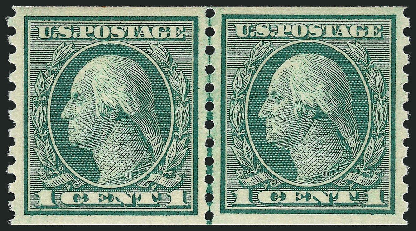 Price of US Stamp Scott 452 - 1914 1c Washington Coil Perf 10 Vertically. Robert Siegel Auction Galleries, Jul 2013, Sale 1050, Lot 569