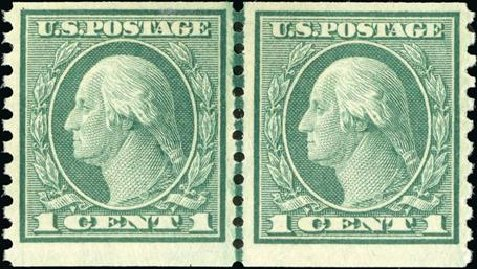 US Stamp Value Scott Cat. # 452 - 1c 1914 Washington Coil Perf 10 Vertically. Spink Shreves Galleries, Jan 2015, Sale 150, Lot 179