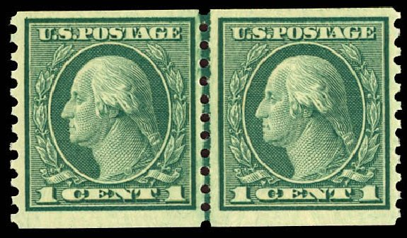 Prices of US Stamps Scott Cat. #452 - 1914 1c Washington Coil Perf 10 Vertically. Daniel Kelleher Auctions, Dec 2012, Sale 633, Lot 800