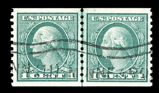 US Stamps Value Scott Catalog #452 - 1c 1914 Washington Coil Perf 10 Vertically. Spink Shreves Galleries, May 2014, Sale 148, Lot 311
