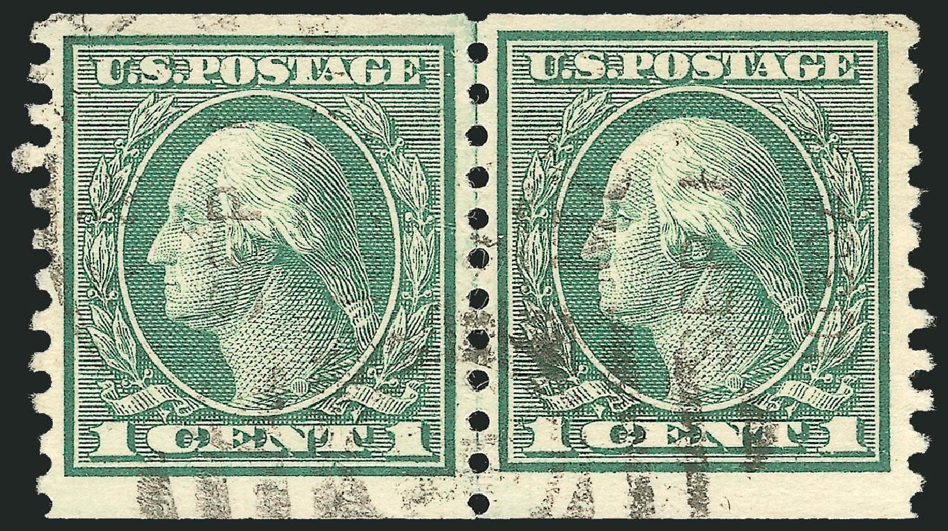 Cost of US Stamps Scott Cat. #452: 1914 1c Washington Coil Perf 10 Vertically. Robert Siegel Auction Galleries, Feb 2015, Sale 1093, Lot 354