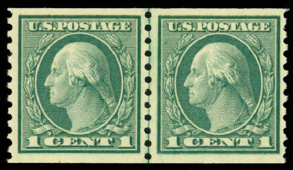 Values of US Stamps Scott Catalog 452 - 1914 1c Washington Coil Perf 10 Vertically. Daniel Kelleher Auctions, Mar 2013, Sale 635, Lot 545