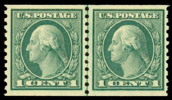 Values of US Stamps Scott Catalog 452 - 1914 1c Washington Coil Perf 10 Vertically. Daniel Kelleher Auctions, Mar 2013, Sale 635, Lot 545