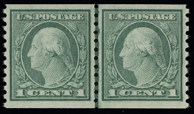 Values of US Stamp Scott Catalog 452 - 1c 1914 Washington Coil Perf 10 Vertically. Spink Shreves Galleries, Aug 2013, Sale 144, Lot 252