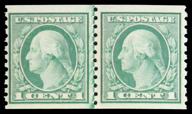US Stamp Price Scott Cat. # 452 - 1c 1914 Washington Coil Perf 10 Vertically. Daniel Kelleher Auctions, May 2014, Sale 652, Lot 666