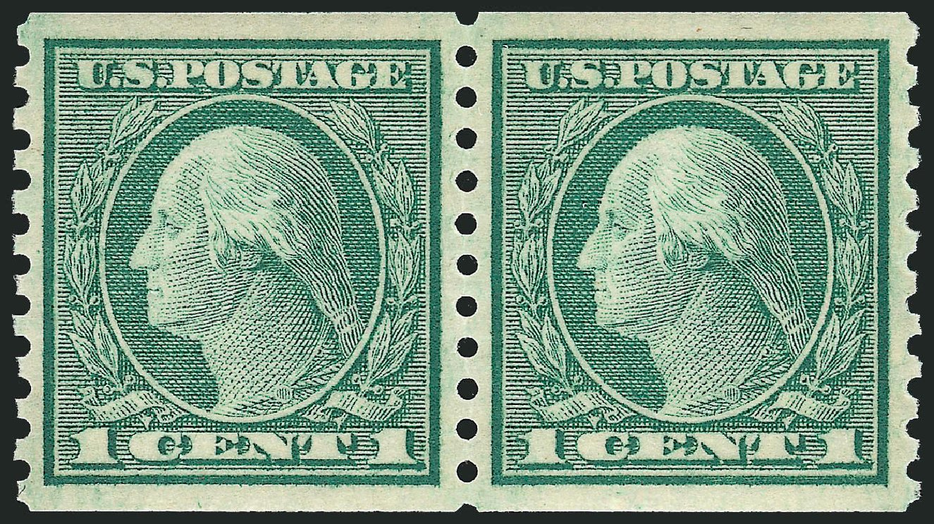 Costs of US Stamps Scott Catalogue 452 - 1914 1c Washington Coil Perf 10 Vertically. Robert Siegel Auction Galleries, Sep 2009, Sale 968B, Lot 586