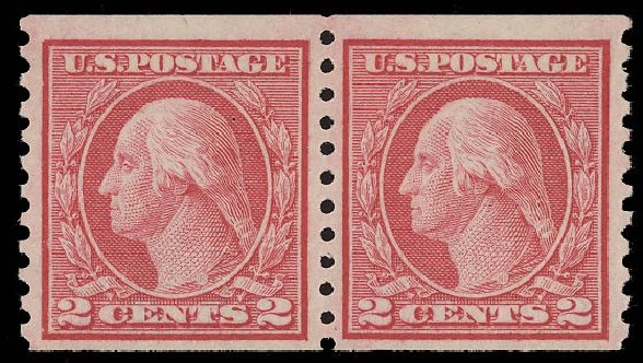 Values of US Stamp Scott Cat. 453: 1914 2c Washington Coil Perf 10 Vertically. Daniel Kelleher Auctions, Aug 2015, Sale 672, Lot 2738