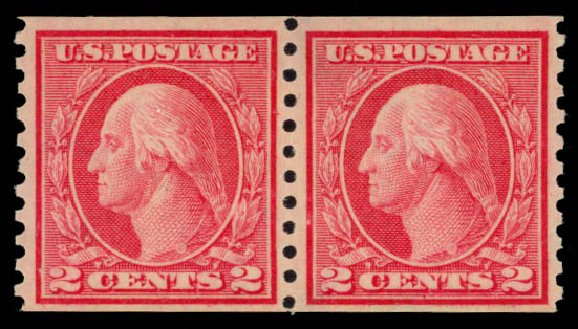 Value of US Stamp Scott Cat. #453: 1914 2c Washington Coil Perf 10 Vertically. Daniel Kelleher Auctions, May 2015, Sale 669, Lot 3029