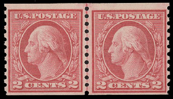 Costs of US Stamp Scott #453 - 1914 2c Washington Coil Perf 10 Vertically. Daniel Kelleher Auctions, Aug 2015, Sale 672, Lot 2739