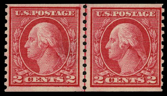 Price of US Stamps Scott Catalog # 453 - 1914 2c Washington Coil Perf 10 Vertically. Daniel Kelleher Auctions, May 2015, Sale 669, Lot 3030