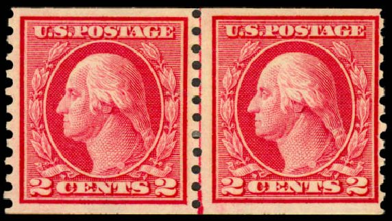 Costs of US Stamp Scott Cat. 453 - 1914 2c Washington Coil Perf 10 Vertically. Daniel Kelleher Auctions, May 2015, Sale 669, Lot 3031
