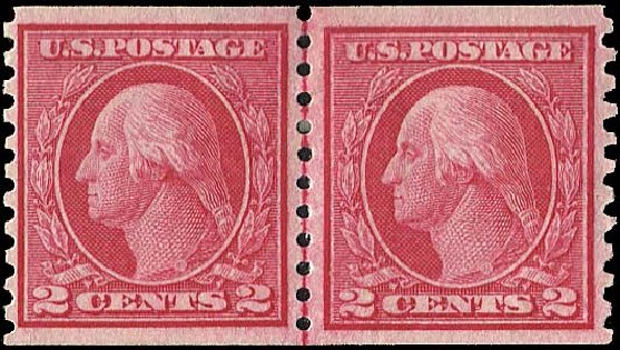 Price of US Stamp Scott 453: 2c 1914 Washington Coil Perf 10 Vertically. Regency-Superior, Aug 2015, Sale 112, Lot 843