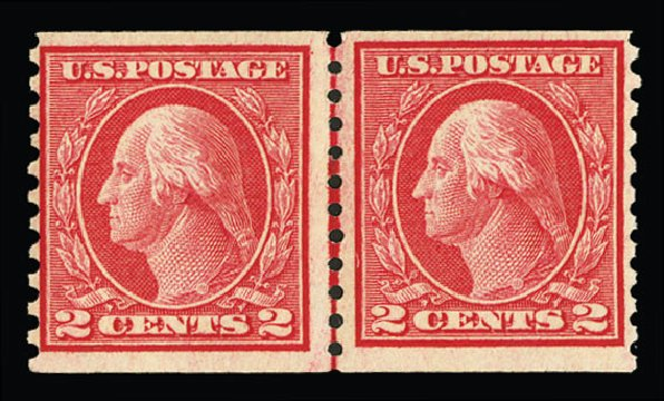 Cost of US Stamps Scott Catalog #453 - 1914 2c Washington Coil Perf 10 Vertically. Cherrystone Auctions, Jul 2015, Sale 201507, Lot 2156