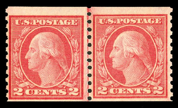 Prices of US Stamp Scott Catalogue #454 - 2c 1915 Washington Coil Perf 10 Vertically. Cherrystone Auctions, Jul 2015, Sale 201507, Lot 2157