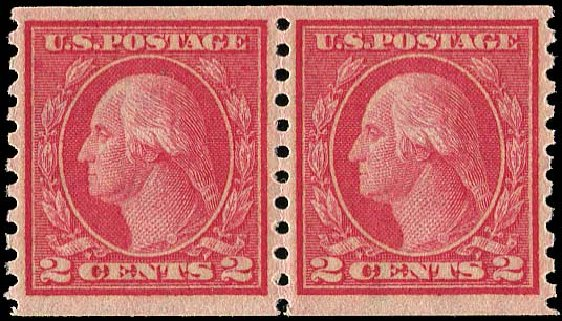 US Stamp Price Scott # 454: 2c 1915 Washington Coil Perf 10 Vertically. Regency-Superior, Aug 2015, Sale 112, Lot 848