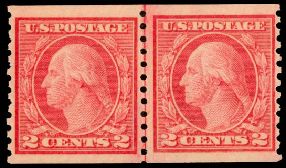 Value of US Stamp Scott 454: 1915 2c Washington Coil Perf 10 Vertically. Daniel Kelleher Auctions, Aug 2015, Sale 672, Lot 2740