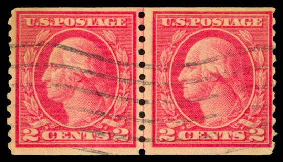 US Stamps Price Scott Catalog 454 - 1915 2c Washington Coil Perf 10 Vertically. Daniel Kelleher Auctions, Aug 2015, Sale 672, Lot 2741