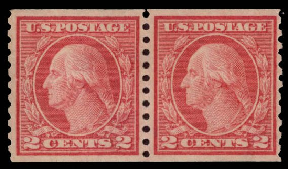 US Stamp Prices Scott # 454 - 2c 1915 Washington Coil Perf 10 Vertically. Daniel Kelleher Auctions, May 2015, Sale 669, Lot 3034