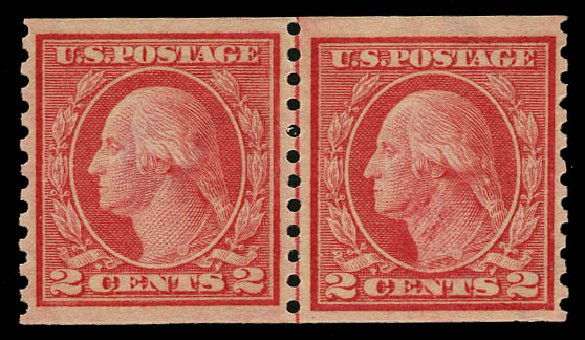 Costs of US Stamps Scott Cat. #454 - 1915 2c Washington Coil Perf 10 Vertically. Daniel Kelleher Auctions, May 2015, Sale 669, Lot 3035