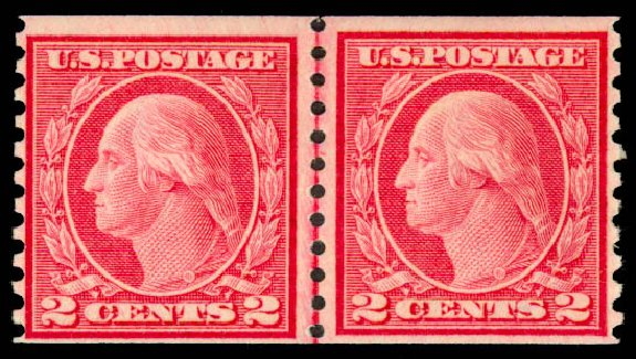 Value of US Stamps Scott Cat. #454 - 1915 2c Washington Coil Perf 10 Vertically. Daniel Kelleher Auctions, May 2015, Sale 669, Lot 3036