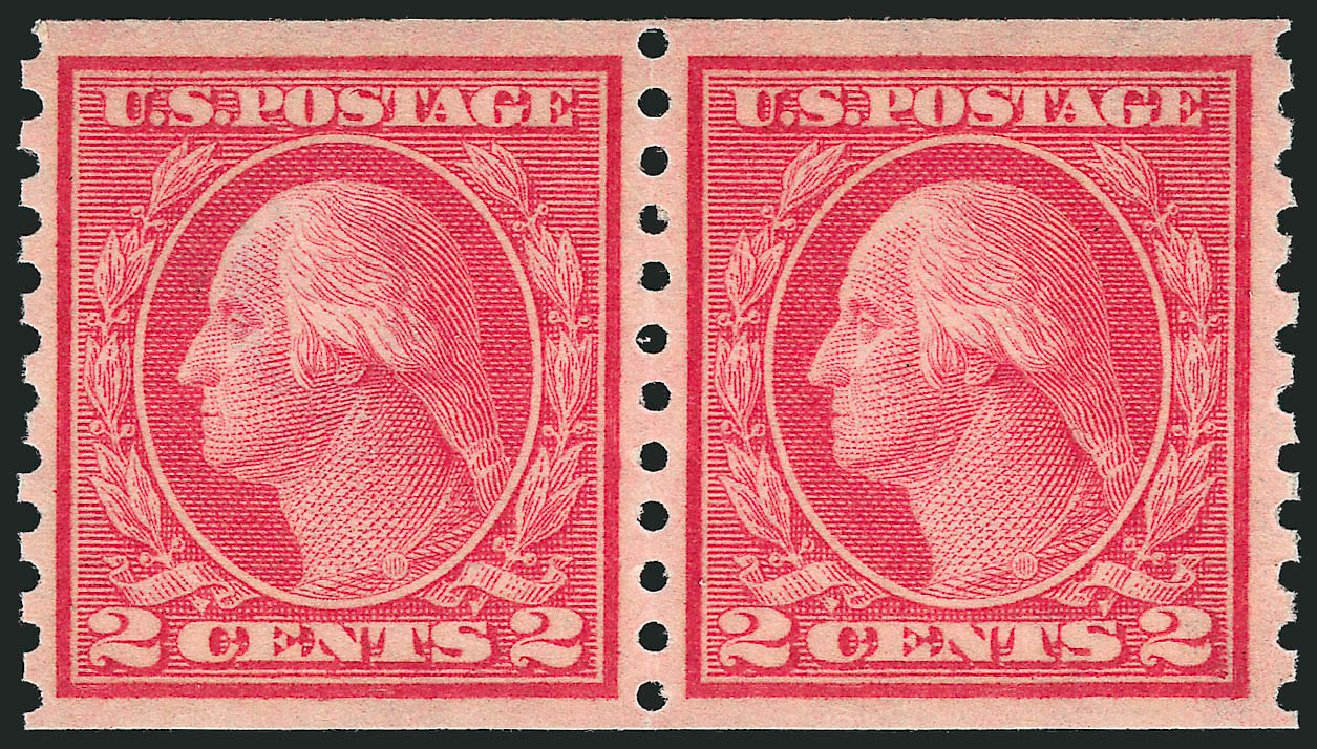 Value of US Stamp Scott #454 - 1915 2c Washington Coil Perf 10 Vertically. Robert Siegel Auction Galleries, Jul 2015, Sale 1107, Lot 476