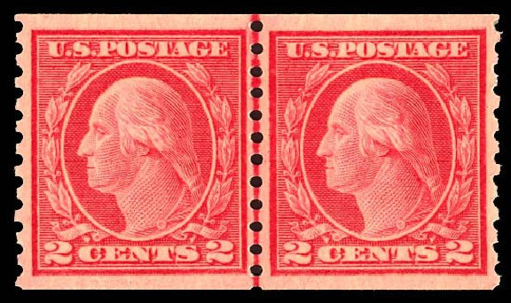 US Stamps Price Scott Cat. #455 - 1915 2c Washington Coil Perf 10 Vertically. Daniel Kelleher Auctions, Dec 2012, Sale 633, Lot 807